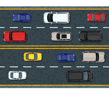 Vector piatta illustrazione di trasporto urbano e ingorgo. Strada statale con auto in movimento. Vista dall'alto di automobili. Elementi di design del traffico stradale e del trasporto. Vettoriali