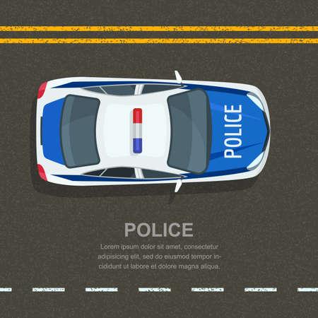 Road police patrol, vector illustration. Police car on asphalt road, top view. Street traffic and transport design elements.