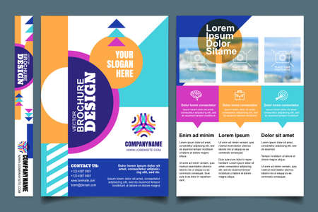 Brochure and cover, A4 vector layout. Universal business leaflet and design elements. Flyer, poster template with minimal geometric pattern. Background with copy space for text and photo.