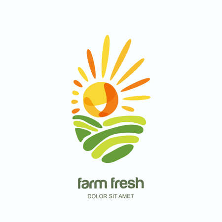Farm and farming vector oval hand drawn label, emblem, logo design template. Isolated illustration of fields, farm landscape, sun. Concept for agriculture, harvesting, natural farm, organic products.