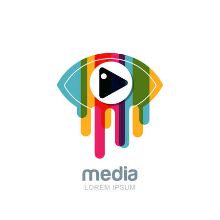 Vector colorful abstract eye logo, sign, emblem design element. Media, CCTV, television broadcast and tv design concept. Isolated icon of multicolor striped liquid eye with button.