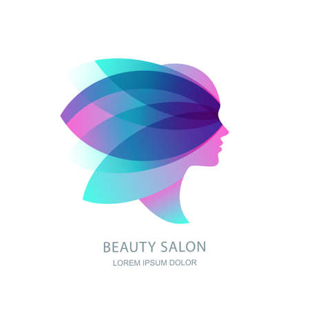 Female profile silhouette in abstract butterfly wings. Vector logo, emblem, label design. Womens face in pink flower leaves. Concept for beauty salon, makeup cosmetic, cosmetology procedures and spa. Ilustração