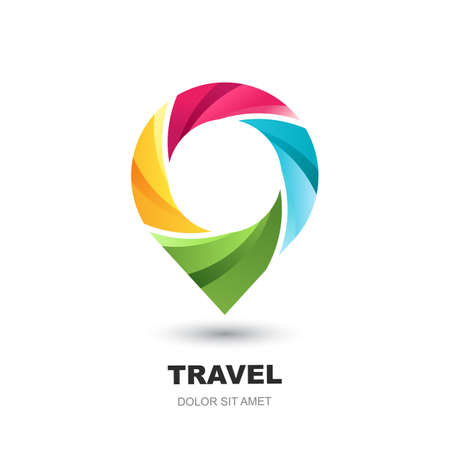 Vector logo icon or emblem design template with pin map symbol. Abstract multicolor waypoint marker. Modern concept for vacation, travel, tour search and tourism business.