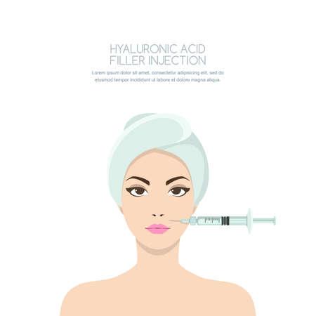 Cosmetologie en schoonheid concept. Mooie vrouw die verjongende injectie hebben tegen de rimpels. Vectorillustratie van hyaluronzuurvullerinjecties, neurotoxine, mesotherapieprocedures.