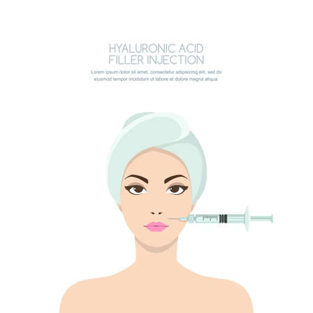 Cosmetology and beauty concept. Beautiful woman having rejuvenating injection against the wrinkles. Vector illustration of hyaluronic acid filler injections, neurotoxin, mesotherapy procedures. 向量圖像