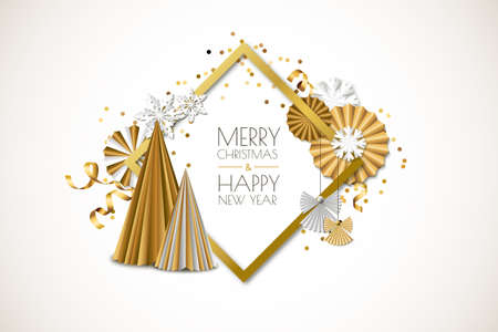 Merry Christmas, Happy New Year greeting card. Vector holiday gold isolated frame with golden paper stars, christmas tree, ribbons, angels and snowflakes. Material design for banner, flyer, poster. Illustration