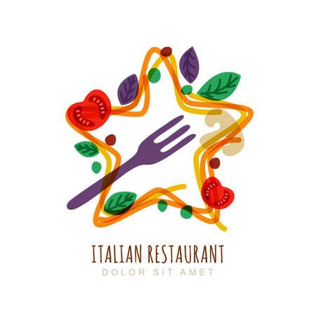 Hand drawn doodle illustration of italian spaghetti in star shape, tomato, basil, fork. Vector logo, emblem design template. Concept for pasta label, restaurant menu, cafe, fast food, pizzeria.