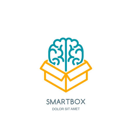 Vector logo icon, emblem with brain in box. Abstract flat linear illustration. Concept for business solutions, development, innovation, creativity.