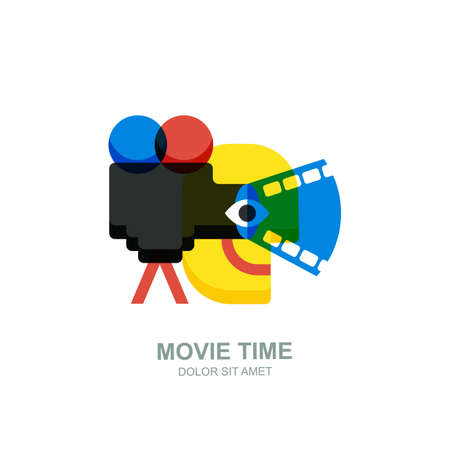 Vector isolated flat illustration of smiling abstract man, movie camera with film spotlight. Creative logo icon design. Concept for home movie time, media and watching video tv. Illustration