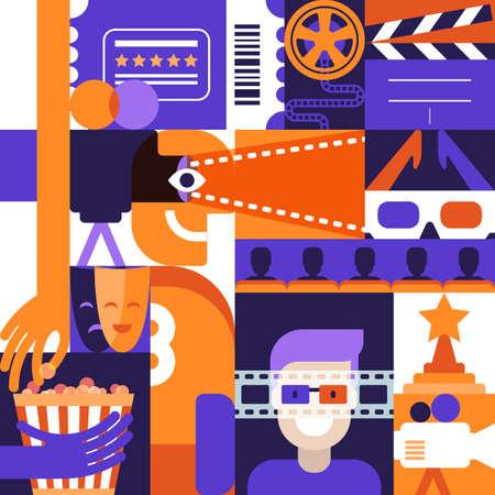 Vector flache geometrische Gestaltungselemente für Kino, Film und Unterhaltungsthema. Konzept für Plakat, Eintrittskarte, Flyer. Mann in den Gläsern 3d, Kamerafilm, Popkornillustrationen. Standard-Bild - 89516608