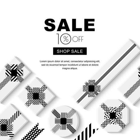 Holiday sale banner with black white geometric gift boxes and ribbons. Flat lay vector poster, flyer or voucher layout. Top view mock up design template.