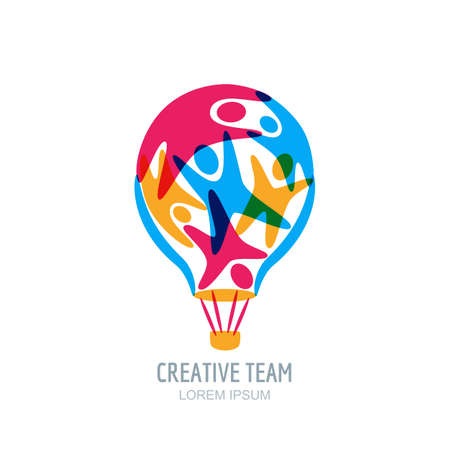 Creative team concept. Colorful abstract people in air balloon shape.