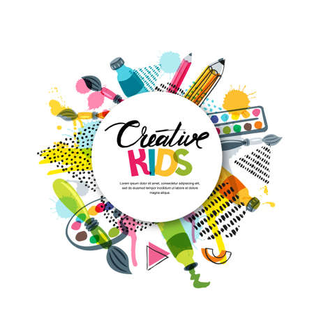 Kids art craft, education, creativity class concept. Vector banner, poster with white paper background, hand drawn letters, pencil, brush, paints and watercolor splash. Doodle illustration. Stock Illustratie