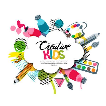 Crianças arte artesanato, educação, conceito de classe de criatividade. Bandeira de vetor, cartaz com fundo de papel de forma nuvem branca, letras de mão desenhada, lápis, pincel, tintas aquarela. Ilustração Doodle. Ilustración de vector