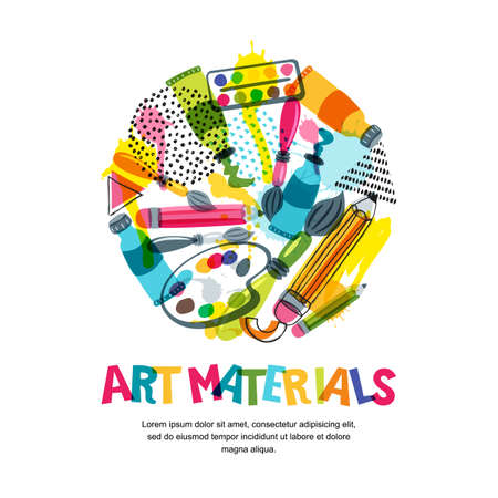 Art materials for craft design and creativity. Vector doodle isolated illustration in circle shape. Banner or poster background with pencils, brushes, watercolor paints. Illustration