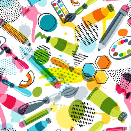 Art materials for craft design and creativity. Vector doodle seamless pattern. Creative background with pencils, brushes, watercolor paints and other items for handmade activity. Çizim