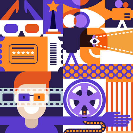 Vector cinema or movie festival concept. Flat geometric square pattern. Backgrounds and design elements for poster, entrance theatre ticket, flyer. Film and entertainment creative illustration.