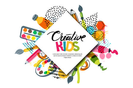 Kids art craft, education, creativity class concept. Vector horizontal banner or poster with white square paper background, hand drawn letters, pencil, brush, watercolor paints. Doodle illustration.