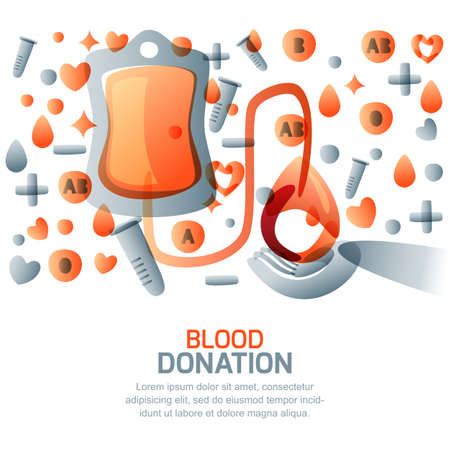 Blood donation and transfusion concept. Vector isolated medical illustration, icons, symbol and design elements. World blood donor day, horizontal banner or poster template. Stock Illustratie