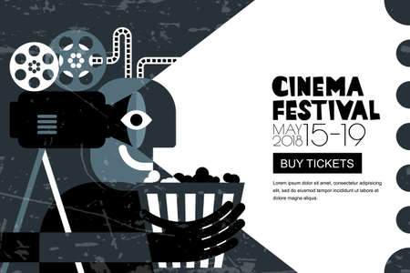 Vector cinema festival black white poster, flyer background. Abstract sale tickets banner background. Movie time and entertainment concept. Man with popcorn and camera, trendy flat illustration.