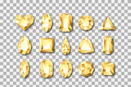 Set of vector realistic golden gems and jewels on transparent background. Gold shiny diamonds with different cuts. Design elements and icons for holiday gift and jewelry shop. Vettoriali