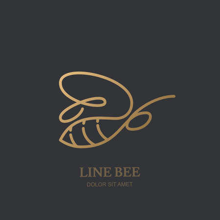 A Vector one line logo icon or emblem with golden honeybee. Abstract modern design template. Outline bee illustration. Concept for honey package design, luxury jewelry Vectores