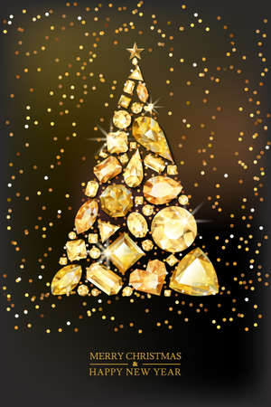 Merry Christmas, Happy New Year greeting card. Vector golden 3d style christmas tree made from gold gems on black background. Holiday banner layout, flyer, poster with various diamonds, jewels. Illustration