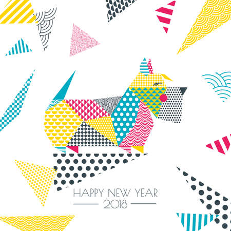 456 scottish new year stock illustrations cliparts and royalty free vector color illustration of scottish terrier dog with patchwork geometric triangle texture creative new year m4hsunfo