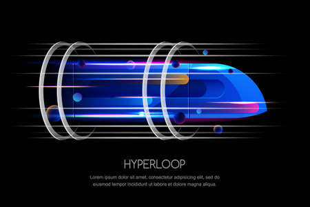 High speed futuristic train, hyper loop, vector multicolor dynamic illustration. Future express transport trendy design concept.