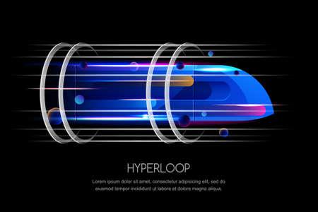 Trem futurista de alta velocidade, laço hyper, ilustração dinâmica multicolorido do vetor. Conceito de design moderno de transporte expresso do futuro.