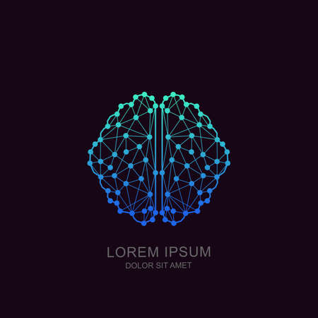 Vector human brain in low poly particles tech style. Logo, icon, emblem design template. Futuristic concept for neural networks, artificial intelligence, education and high technology. Ilustração