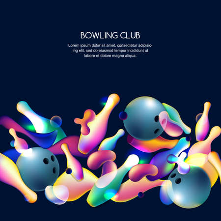 Vector glowing neon bowling background with multicolor 3d bowling balls and pins. Abstract colorful overlapping shapes illustration on black background.