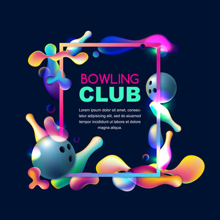 Vector glowing neon bowling background. Frame with multicolor 3d bowling balls and pins on black background. Abstract colorful overlapping shapes illustration.