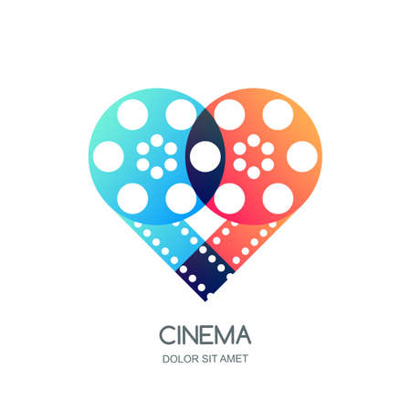 Cinema festival vector logo, icon, emblem design template. Overlapping film reel and filmstrip in heart shape. Illustration