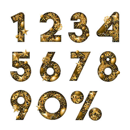 Vector 3D gold numbers with stars and snowflakes. Paper cut style arabic numerals isolated on white background. Design elements for winter sale, discount banner, poster, labels, anniversary cards. Illustration