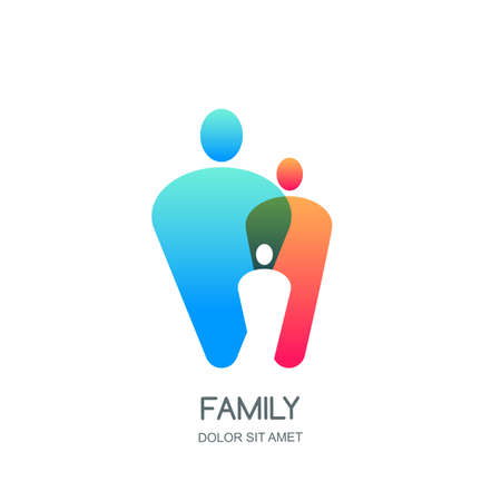 Abstract colorful vector family, icon, emblem design template. Overlapping people silhouettes. Illustration of happy family, mom, dad, kid.