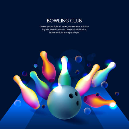 Vector glowing neon bowling club banner or poster with multicolor 3d bowling balls and pins. Abstract colorful shapes illustration on black background.