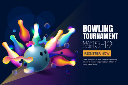 Vector glowing neon bowling tournament banner or poster with multicolor 3d bowling balls and pins. Abstract colorful shapes illustration on black background. Vettoriali
