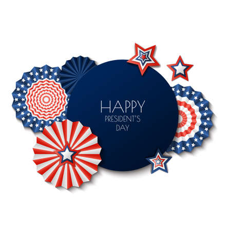 USA Presidents Day. Vector holiday frame isolated on white background. Paper stars in USA flag colors. Material design for greeting card, flyer, banner, poster.