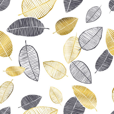 Vector seamless pattern with hand drawn golden, black, white leaves made with watercolor, ink and marker. Trendy scandinavian design concept for fashion textile print. Nature illustration. Vettoriali