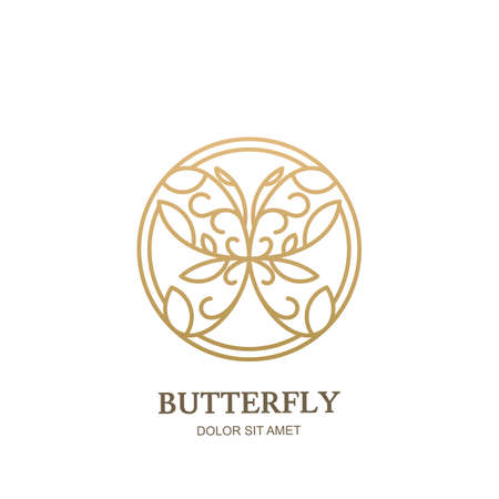 Vector icon, emblem with linear style golden floral butterfly in circle shape. Abstract modern design template. Concept for luxury jewelry, accessories store, beauty spa salon, cosmetics shop.