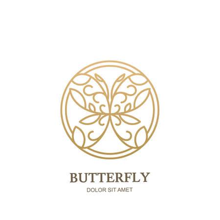 Vectorpictogram, embleem met lineaire stijl gouden bloemenvlinder in cirkelvorm. Abstracte moderne ontwerpsjabloon. Concept voor luxe sieraden, accessoires winkel, beauty spa salon, cosmetica winkel.