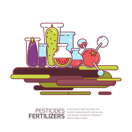 Pesticides and fertilizers concept. Vector illustration of vegetables and fruits grown with pesticides and chemicals. Farming and agriculture gmo modified technologies.