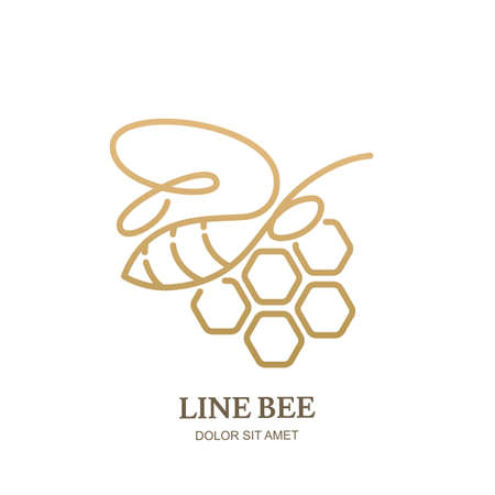 Vector one line icon or emblem with golden honeybee and honeycombs. Abstract modern design template. Outline bee illustration. Concept for honey package design.