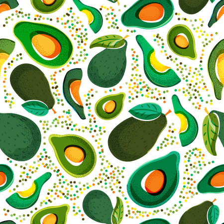 Vector seamless pattern with fresh green avocado isolated on white background. Hand drawn doodle illustration. Trendy design for summer fashion textile prints and backgrounds. Vegetarian food.