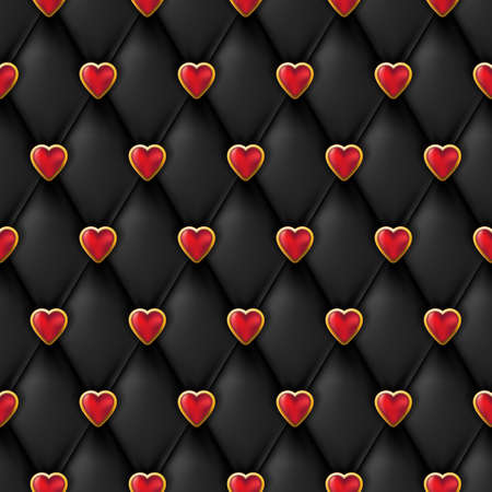 Seamless black leather texture with shiny red golden hearts buttons. Vector silk textile, Valentines day background. Abstract luxury romantic holiday background.