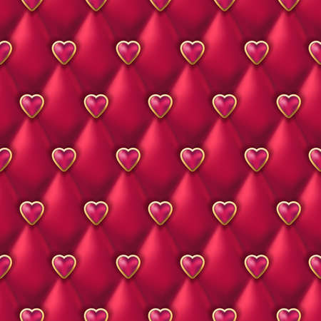 Seamless red leather texture with shiny pink golden hearts buttons. Vector silk satin textile, Valentines day background. Abstract luxury romantic holiday background.