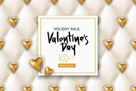 Valentines day sale banner. White leather texture with shiny golden hearts. Design for holiday, poster, greeting card, party invitation. Vector luxury silk satin textile illustration.
