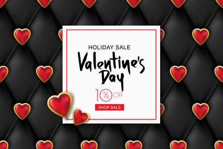 Valentines day sale banner. Black leather texture with shiny red golden hearts. Design for holiday, poster, greeting card, party invitation. Vector luxury silk textile illustration. Vettoriali