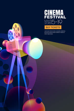 Vector film and movie concept. Neon glowing cinema festival poster or banner layout. 3d style abstract movie camera with film spotlight. Sale cinema theater tickets and entertainment illustration.